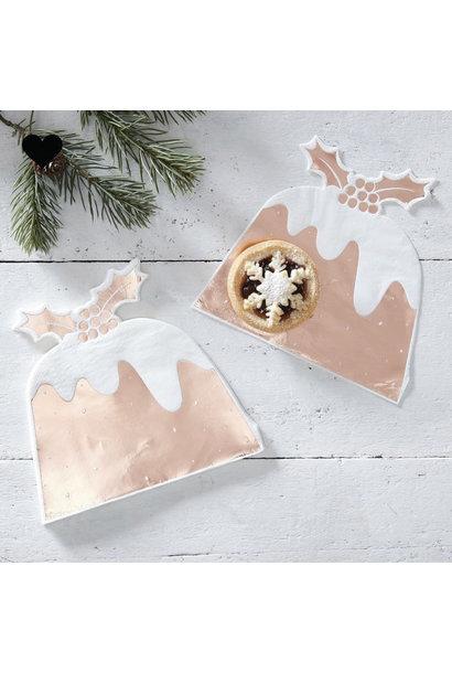 Christmas pudding servetten roségoud (12st) Ginger Ray
