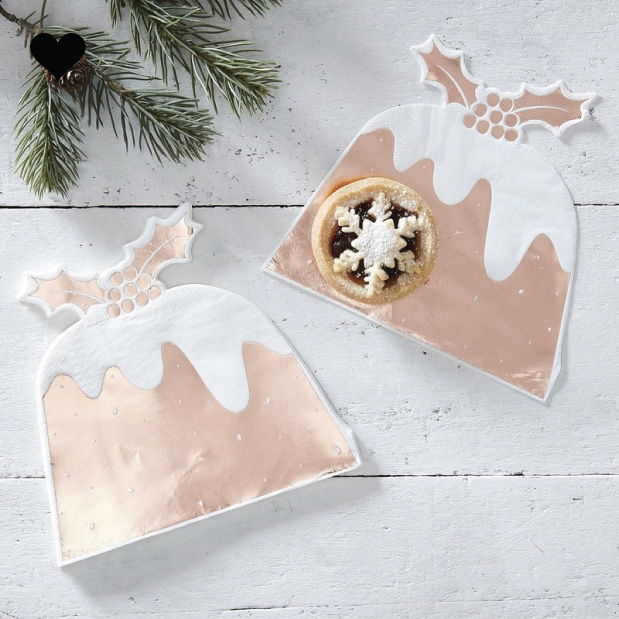 Christmas pudding servetten roségoud (12st) Ginger Ray-1