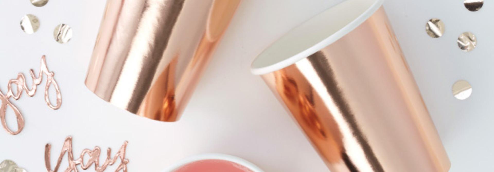 Papieren bekers roségoud (8st) Ginger Ray
