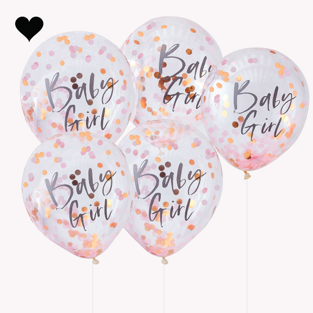 Baby girl confetti ballonnen (5st) Twinkle Twinkle Ginger Ray-2