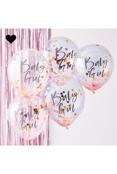 Baby girl confetti ballonnen (5st) Twinkle Twinkle Ginger Ray