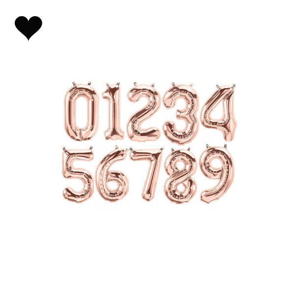 Letter en cijfer folieballonnen roségoud 35 cm-2