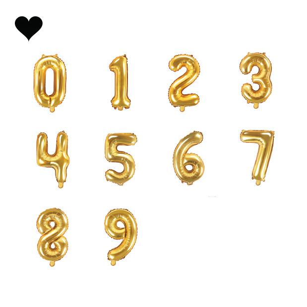 Letter en cijfer folieballonnen goud 35 cm-3