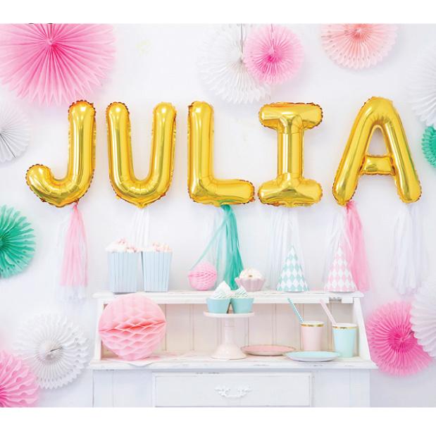 Letter en cijfer folieballonnen goud 35 cm-5