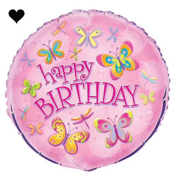 Folieballon Happy Birthday vlinders-1