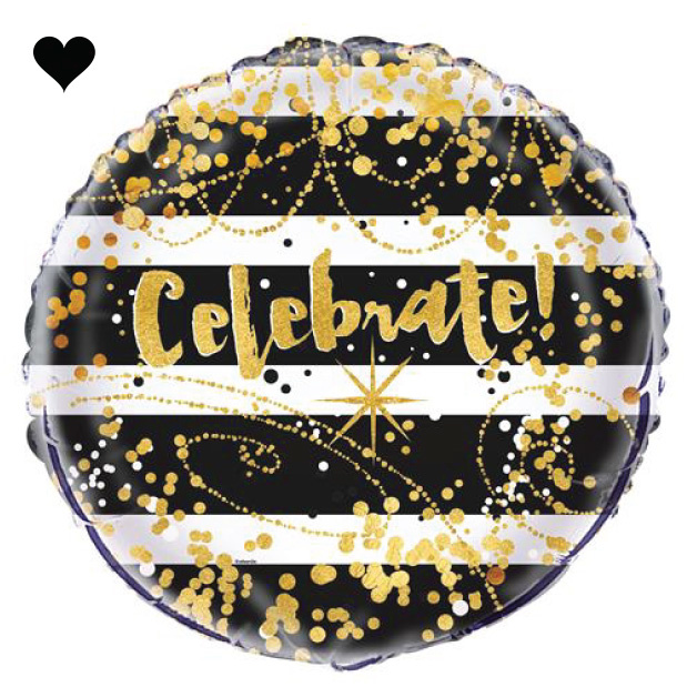 Folieballon Celebrate black & gold-1