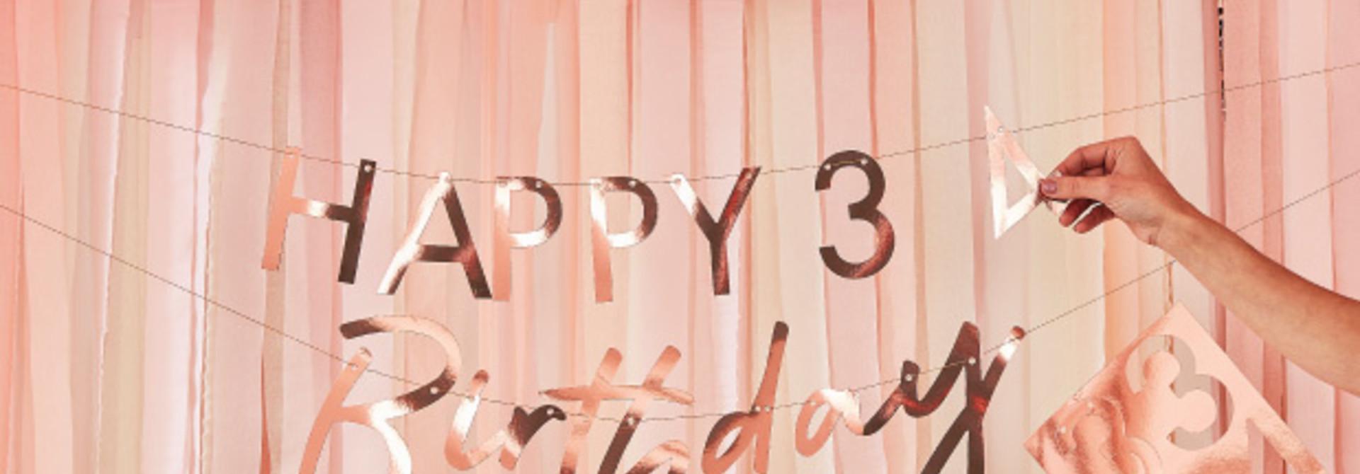 Happy Birthday slinger roségoud customise Ginger Ray