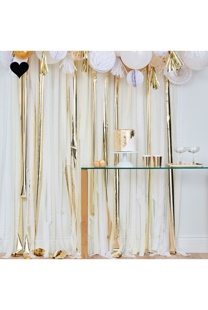 Backdrop Streamer Gold & White Mix it Up Ginger Ray