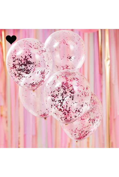 Confetti ballonen roze Mix it Up (5st) Ginger Ray