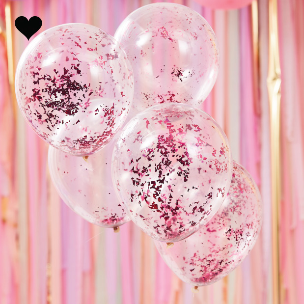 Confetti ballonen roze Mix it Up (5st) Ginger Ray-1