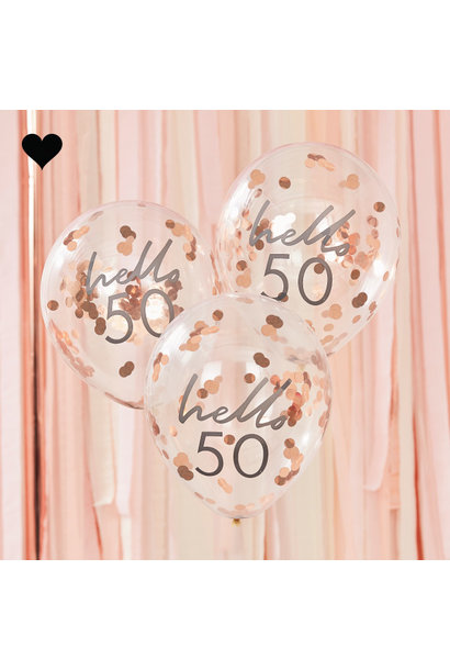 Hello 50 confetti ballonen roségoud Mix it Up (5st) Ginger Ray
