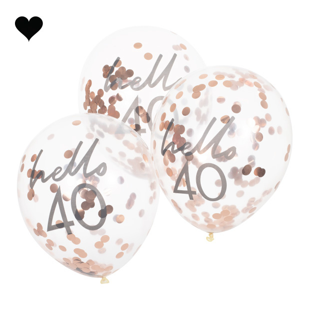 Hello 40 confetti ballonen roségoud Mix it Up (5st) Ginger Ray-2