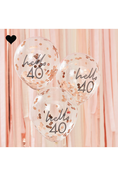 Hello 40 confetti ballonen roségoud Mix it Up (5st) Ginger Ray