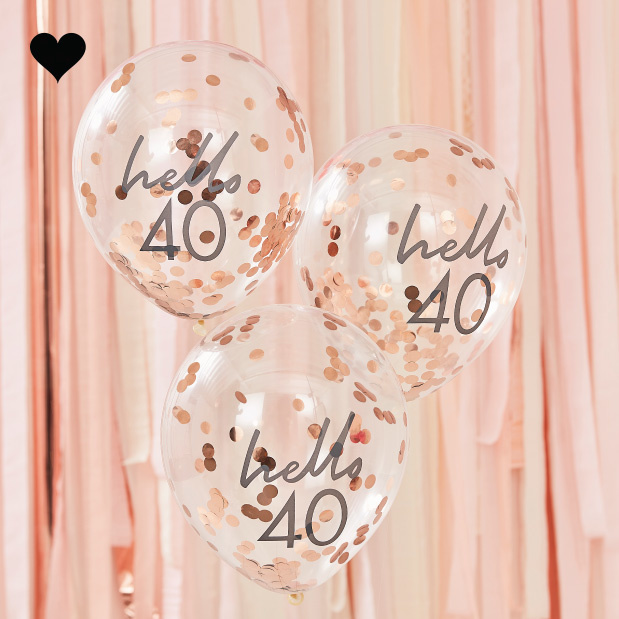 Hello 40 confetti ballonen roségoud Mix it Up (5st) Ginger Ray-1