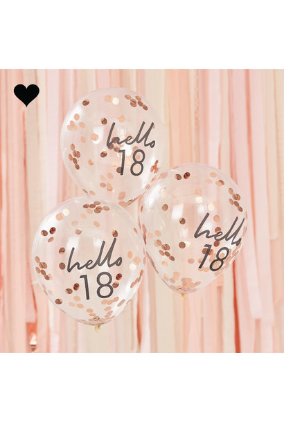 Hello 18 confetti ballonen roségoud Mix it Up (5st) Ginger Ray