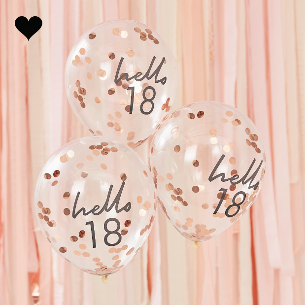 Hello 18 confetti ballonen roségoud Mix it Up (5st) Ginger Ray-1