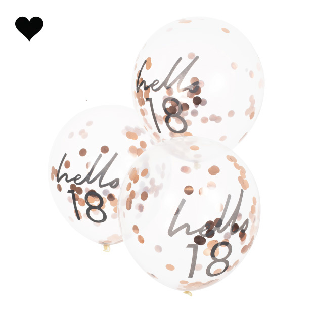 Hello 18 confetti ballonen roségoud Mix it Up (5st) Ginger Ray-2