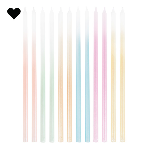 Taartkaarsen ombre pastel Mix it Up (12st) Ginger Ray-2