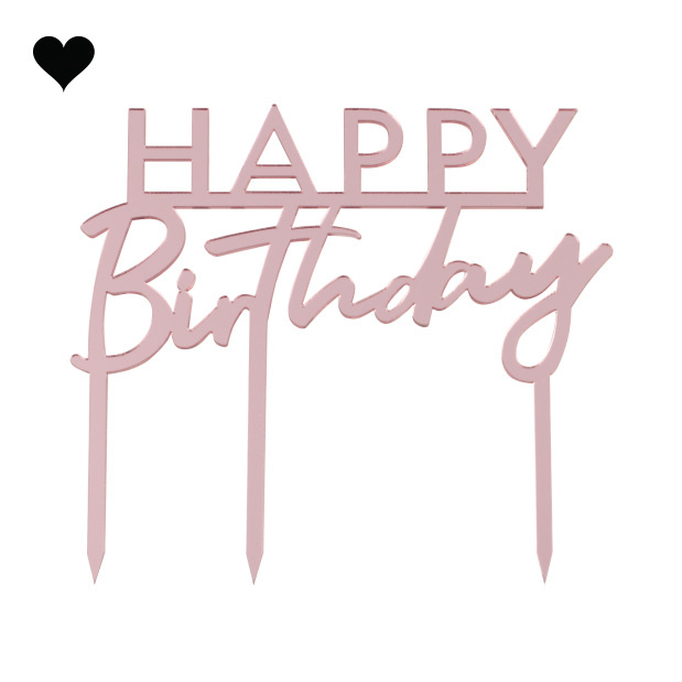 Taarttopper Happy Birthday acryl roze Mix it Up Ginger Ray-2