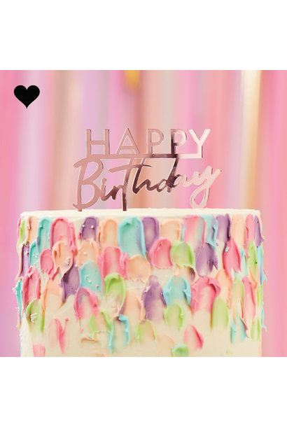 Taarttopper Happy Birthday acryl roze Mix it Up Ginger Ray