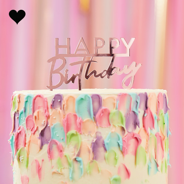 Taarttopper Happy Birthday acryl roze Mix it Up Ginger Ray-1