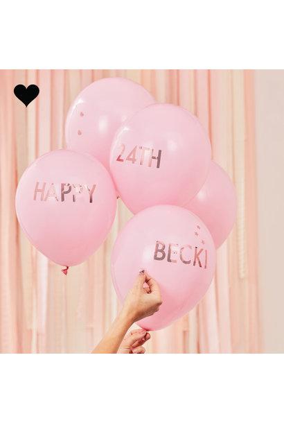 Ballonnen roze met roségoud stickers Mix it Up (5st) Ginger Ray