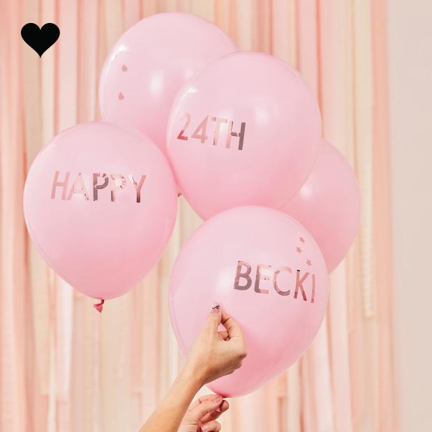 Ballonen roze met roségoud stickers Mix it Up (5st) Ginger Ray-1