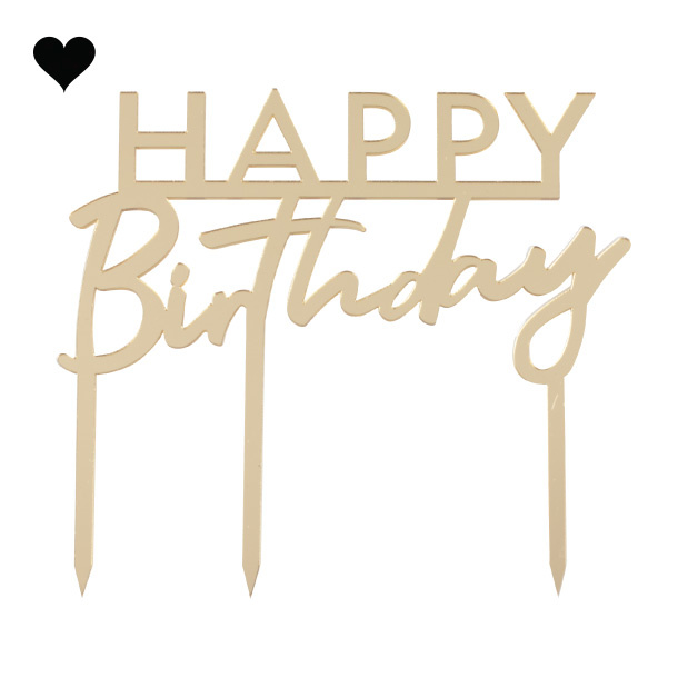 Taarttopper Happy Birthday acryl goud Mix it Up Ginger Ray-2