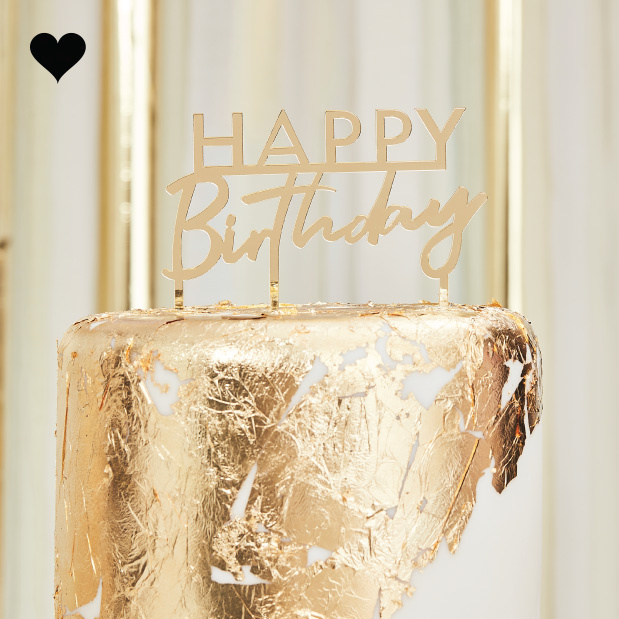 Taarttopper Happy Birthday acryl goud Mix it Up Ginger Ray-1
