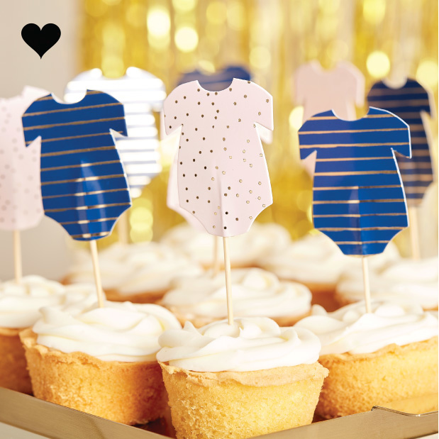 Cupcake prikkers romper Gender Reveal (12st) Ginger Ray-1