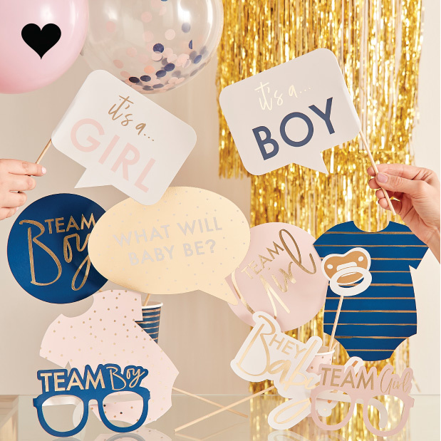 Party props met stickers Gender Reveal (10st) Ginger Ray-1