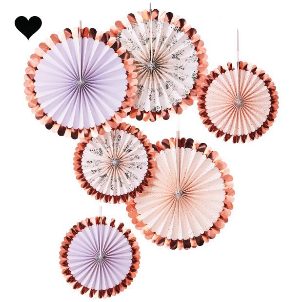 Paperfans rosé  Let's Partea (6st) Ginger Ray-2