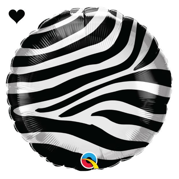 Folieballon zebra print (46cm) Qualatex-1