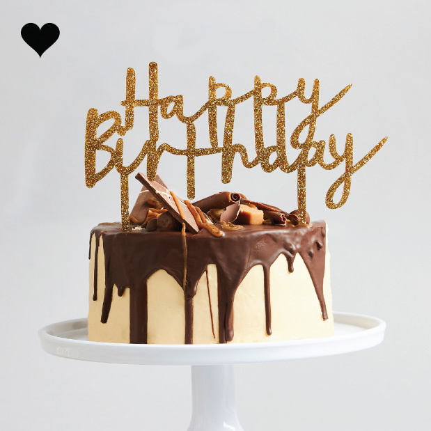 Taarttopper acryl goud Happy Birthday Hootyballoo-2