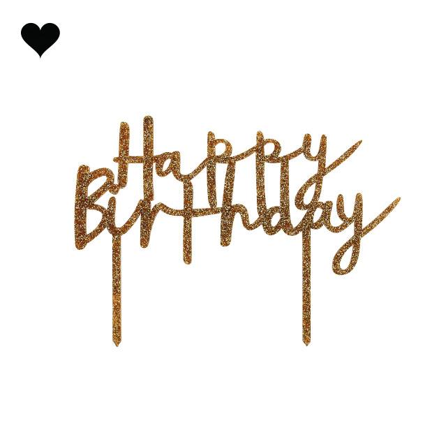 Taarttopper acryl goud Happy Birthday Hootyballoo-1