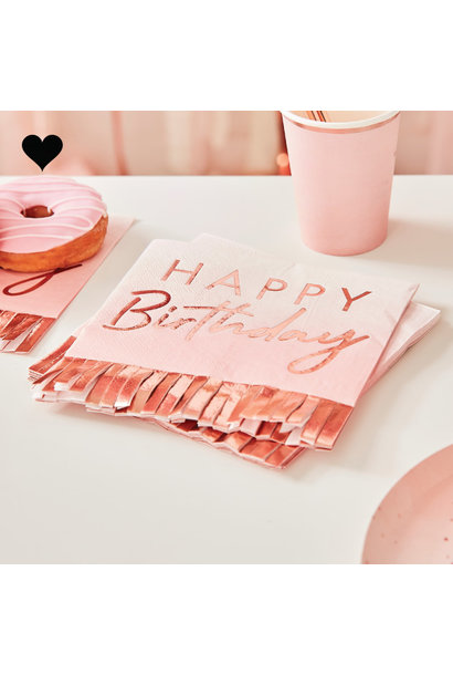 Servetten Happy Birthday Ombre roze (16st) Ginger Ray
