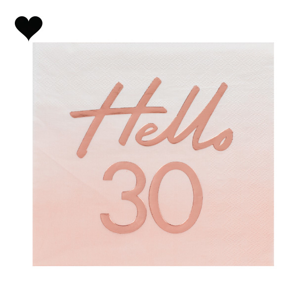 Servetten Hello 30 roségoud Mix it Up (16st) Ginger Ray-2