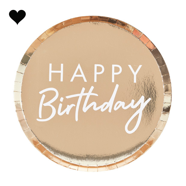 Bordjes Happy Birthday goud (8st) Ginger Ray-2