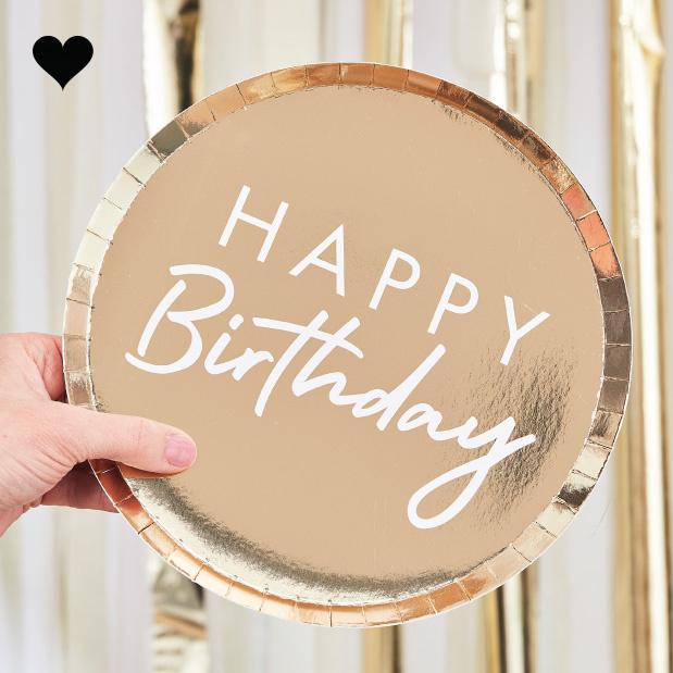 Bordjes Happy Birthday goud (8st) Ginger Ray-1
