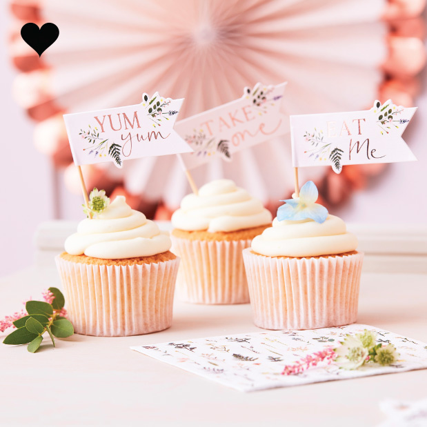 Cupcake toppers Let's Partea (12st) Ginger Ray-1