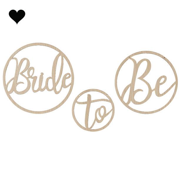 Houten hangers Bride To Be Botanical Hen (3st) Ginger Ray-2
