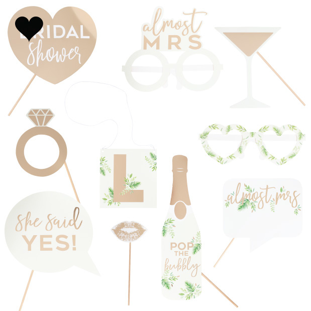 Party Props met letter stickers Botanical Hen (10st) Ginger Ray-2