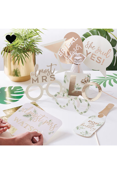 Party Props met letter stickers Botanical Hen (10st) Ginger Ray