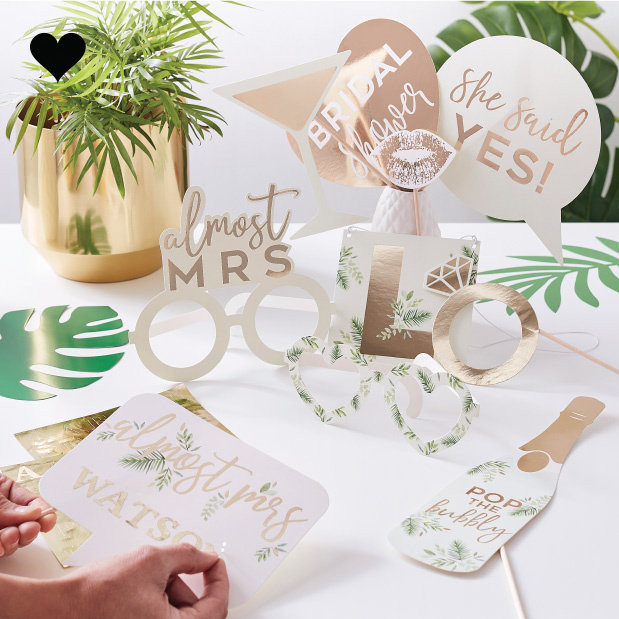 Party Props met letter stickers Botanical Hen (10st) Ginger Ray-1