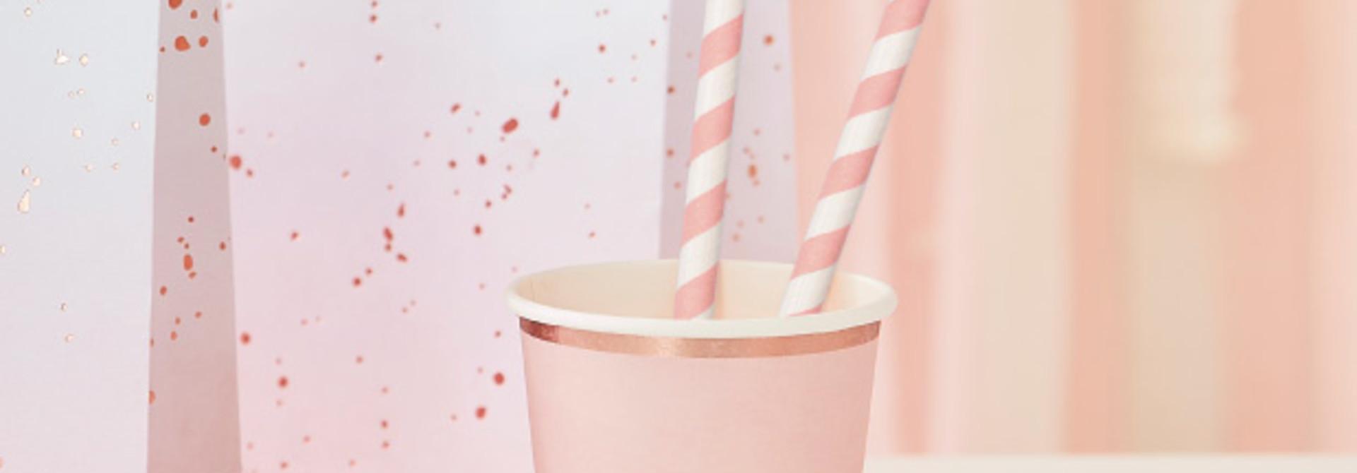 Papieren rietjes roze  Mix it Up (20st) Ginger Ray