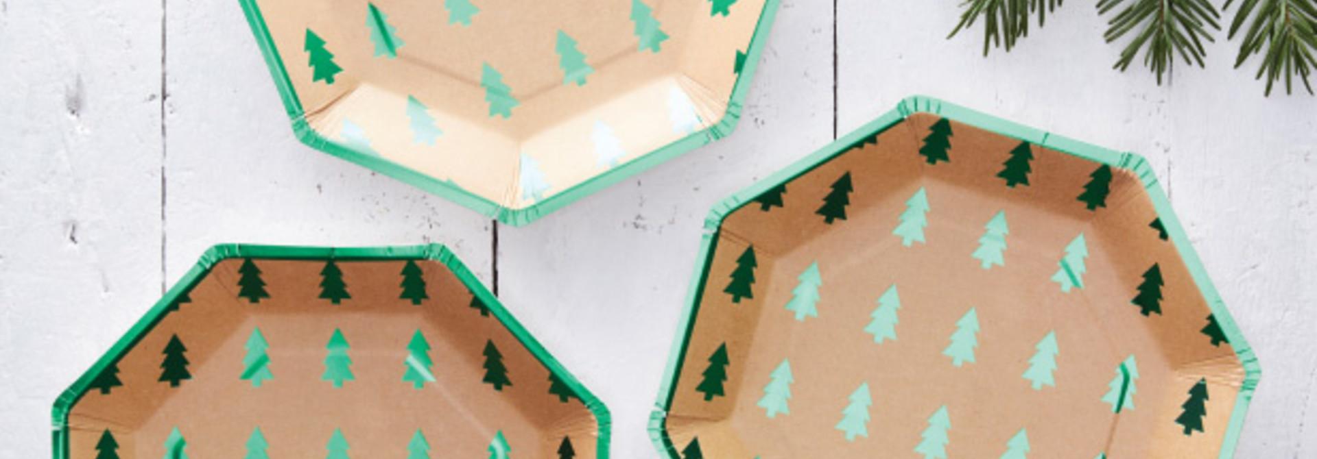 Kerst rustiek bordjes (8st) Ginger Ray