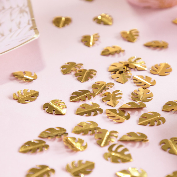 Tafelconfetti blaadjes goud-2