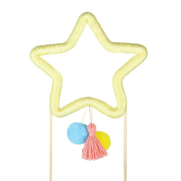 Taarttopper ster met tassel en pompoms-2