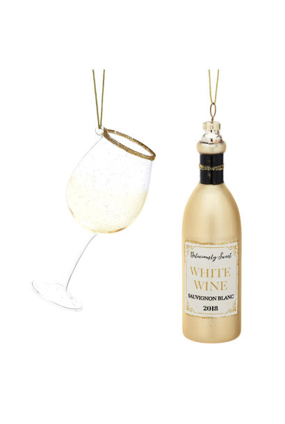 Kersthangers fles witte wijn en glas (2st) Sass & Belle