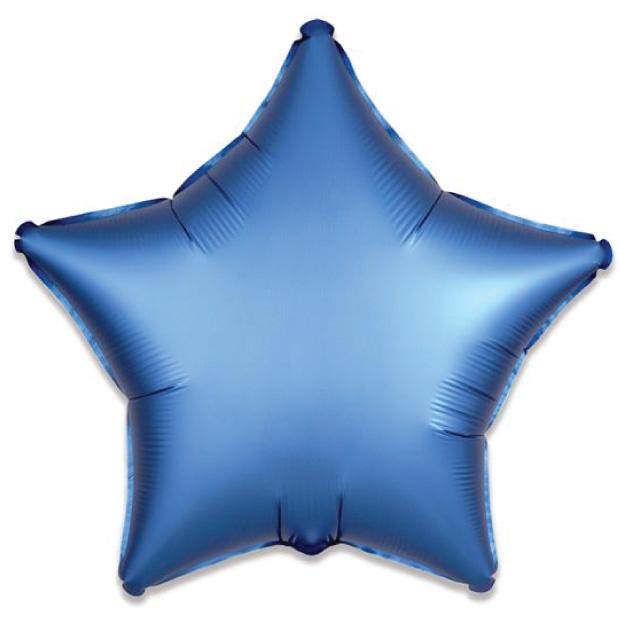 Folieballon satin luxe ster blauw (43 cm)-1